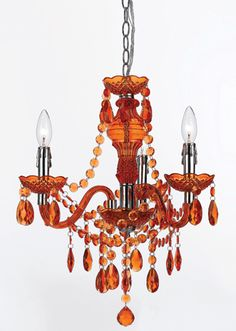 Round and teardrop beads in a playful orange hue adorn this chandelier designed by Angelo Surmelis for AF Lighting.