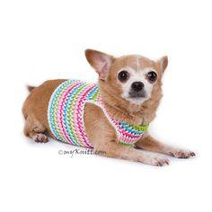 Rainbow Dog Harness Vest,  handmade dogclothes crochet,  puppy harness from Myknitt Designer Dog Clothes.  #chihuahuaharness #puppyharness #dogclothescrochet #dogharnessvest #myknitt #designerdogclothes https://www.etsy.com/listing/514479995/dog-harness-vest-pink-blue-mint-green