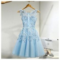 Tulle Homecoming Dress,Appliques Ho..
