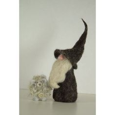 Bearded Gnome With His Curly Wool Sheep Whimsical by all4fiberarts