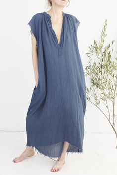 Maybe I can DIY //// GAUZE MUSCLE PEASANT LONG DRESS