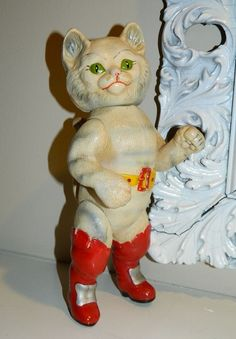 AMAZING Antique 1930s Celluloid LARGE Jointed PUSS IN BOOTS Soviet Cat Doll Toy