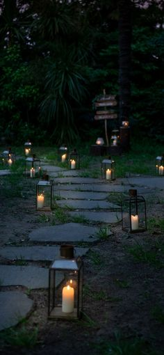 More than 30 lanterns are lighting up the path Weeding, Light Up, Paths, Lanterns, Candles, Grass, Weed Control, Killing Weeds, Lamps