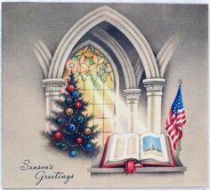 658 40s WWII Patriotic American Flag Vintage Christmas Greeting Card | eBay