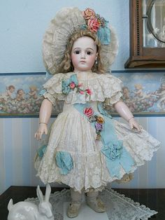 Antique French Bebe Dress with fantastic Hat ✨BullDoll Inspiration ✨ Victorian Dolls, Antique Dolls, Vintage Dolls, New Dolls, Barbie Dolls, China Dolls, Doll Costume, Bisque Doll, Antique Clothing