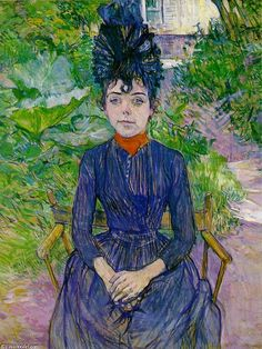 """""""ジャスティンDieuhl"""", オイル バイ Henri De Toulouse-Lautrec (1864-1901, France)"""