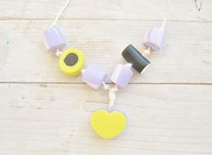 Necklace liquorice allsorts heart sweets yellow by poppyshome