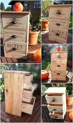 This is through provoking extra-ordinary creation for your outdoor area. This square shaped reused wood pallet chest of drawers are best for storing items. It will provide you enough space to hold the things you need at one place by occupying little space itself. These drawers have a short handles for your ease and to give it beautiful attractive look.