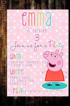 Peppa Pig Birthday Invite, Birthday Invite,  PRINTABLE by DigitalDesigns3 on Etsy https://www.etsy.com/listing/250628606/peppa-pig-birthday-invite-birthday