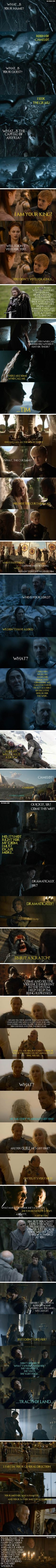 """""""Game Of Thrones"""" Moments Mashuped With """"Monty Python And The Holy Grail"""" Quotes"""