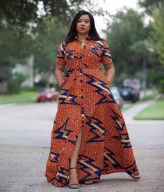 Orange African Print Dress/African Print Dress/African Clothing/African Fashion/African Maxi Dress/A Latest African Fashion Dresses, African Dresses For Women, African Print Dresses, African Print Fashion, Africa Fashion, African Attire, African Wear, Ethnic Fashion, African Style