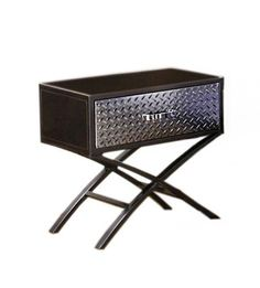 Furniture of America Nervus Nightstand with Metallic Face