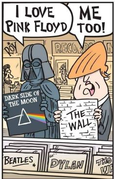 Pink Floyd Dark Side Of The Moon Darth Vader Trump The Wall Canvas Art Print Various Sizes by thefanarthub on Etsy Pink Floyd Dark Side, Political Cartoons, Funny Cartoons, Funny Memes, Cartoon Humor, Hilarious, Funny Gifs, Videos Funny, Art Pink Floyd