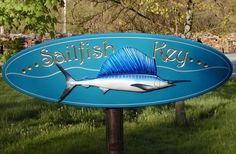 This vibrant summer home sign features a beautifully sculpted and painted sailfish. The text is incise carved and gilded. Lake House Signs, Fishing Signs, Fish Art, Home Signs, Surfboard, Carving, Key, Painting, Animals