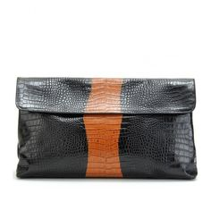 Dries Van Noten Croco-Embossed Large Clutch ($1,165) ❤ liked on Polyvore