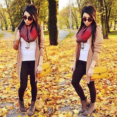 Red Print Scarf + White Long Tank + Tan Knit Long Cardigan + Black Cotton Leggings + Lace Up Ankle Boots