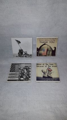 Set of 4 4x4 Ceramic Patriotic Coasters/Military  Coasters/Gifts for him/Gifts for Veterans/Active Duty Gifts/Service Member Gifts