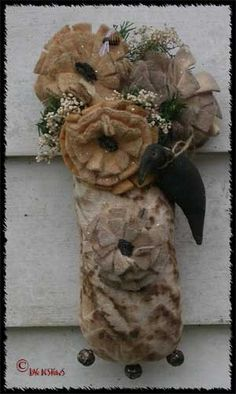 Primitive Summer Flower Crow Sack Greeter Doll by TheHowlingHag, $14.95