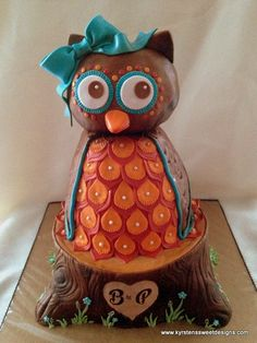 Owl on Tree Stump Baby Shower Cake | Kyrsten's Sweet Designs - Specialty Cakes and Cookie Favors