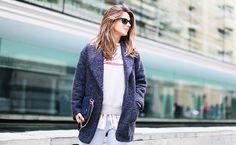 Striped Collared Shirt + Sweatshirt + Mohair Jacket
