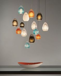 We are all about color this weekend. The Ava Pendant Lighting in Orange, Aqua, Smoke, Clear and White Glass. The Ava Pendant is a new twist on the classic teardrop silhouette, the glass is hand-blown by Polish artisans with a flawless clear draw at the top and then hand carved to add visual interest. Ideal for dining room, living room, or kitchen lighting. Luxury Lighting, Interior Lighting, Home Lighting, Modern Lighting, Lighting Ideas, Lighting Design, Interior Ideas, Interior Design, Glass Pendant Light