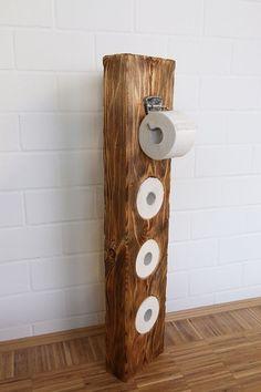 Klopapierhalter aus Massivholz, schlicht und schön #Bathroomideas