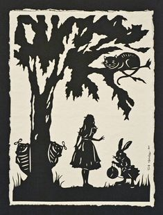 SALE 20% OFF / Black Friday - Cyber Monday / Coupon code: HOLIDAY20 - Alice in Wonderland - Hand-Cut Silhouette Papercut. $85.00, via Etsy.