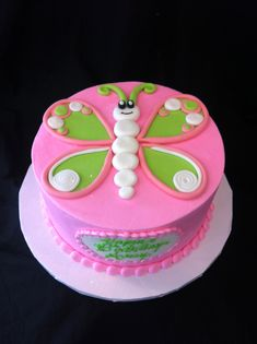 Pink green butterfly cake smash cake idea