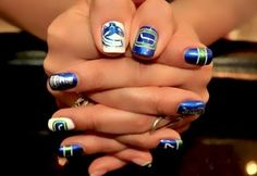 Vancouver Canucks -If only hockey would return id rock these nails for playoffs Mani Pedi, Manicure And Pedicure, Hockey Nails, Hair And Nails, My Nails, Funky Nail Art, Retro Tattoos, Vancouver Canucks, Fabulous Nails