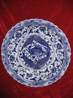 Blue and white porcelain, Yuan Dynasty.