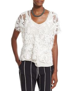 Intarsia-Embroidered Lace Top & Tank, Ivory