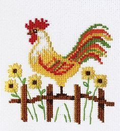 counted cross stitch how to Rooster Cross Stitch, Chicken Cross Stitch, Tiny Cross Stitch, Easy Cross Stitch Patterns, Simple Cross Stitch, Cross Stitch Animals, Cross Stitch Charts, Cross Stitch Designs, Cross Stitch Embroidery