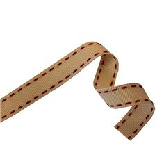 Cream Ribbon With Red Stitching