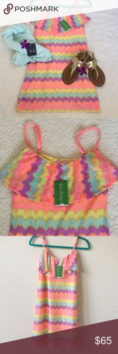 """🌸SALE$56🌸Lilly Pulitzer Laya Dress NWT Fun and flirty Lilly Pulitzer dress in multicolored chevron stripe.  Pink, yellow, peach, aqua and lavender... such vibrant, happy colors! Adjustable spaghetti straps, flounce on front yoke. Fully lined. 100% polyester. Length from underarm to hem 28"""". Never worn, new with tags! So cute!! Was $65 now $56 Lilly Pulitzer Dresses"""