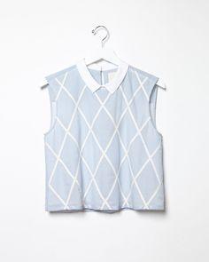 BAND OF OUTSIDERS   Lattice Appliqué Sleeveless Shirt   Shop @ La Garçonne
