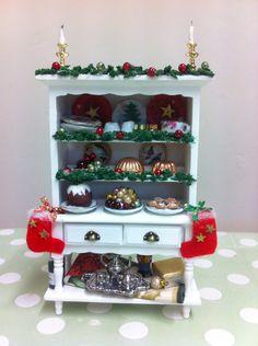 1:12th dollhouse miniature Christmas Dresser/Hutch