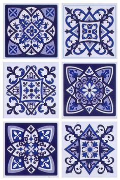 Tile Patterns, Pattern Art, Pattern Design, Tile Art, Tiles, Painting Tile Floors, Blue Cushions, Decoupage Paper, Wall Stickers