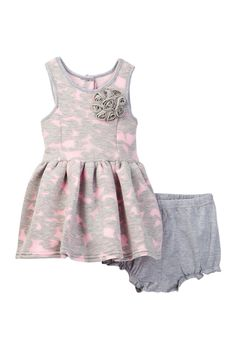 Bonded Burnout Dress Set (Baby Girls)
