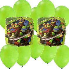 Mylar Latex Party Balloon Set - Ninja Turtles - Green Latex TMNT Party Decorations