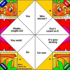 Free Paper Fortune Teller Printable Templates | Free paper, Paper ...