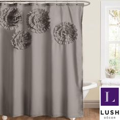 Lush Decor  Glamour Flower  Shower Curtain