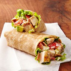 Chicken Club Wraps- with grilled chicken, tomato, bacon, avocado.
