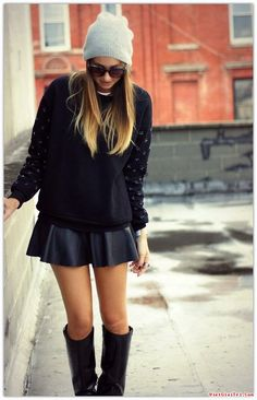 #HTW #OOTD #outfit #fashion #style #sweater #beanie #sunglasses #leather #skirt #wellington #boots #bracelet #ring