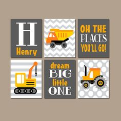 ★CONSTRUCTION TRUCKS Wall Art Boy Nursery Artwork Orange Gray Places Go Child Dream Big Dump Truck Tractor Personalized Name Set of 6 Prints