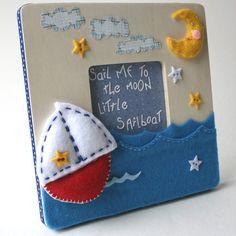 Nautical Celestial Sailboat Picture Frame Art for Nursery or Kids. $45.00, via Etsy.