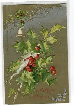 Vintage Christmas Postcard holly by sharonfostervintage Vintage Christmas Cards, Christmas Bells, Christmas Greeting Cards, Christmas Greetings, Vintage Cards, Winter Christmas, All Things Christmas, Christmas Time, Christmas Decorations