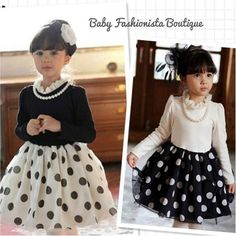 Beautiful Dress - available for Immediate purchase  Long Sleeve Polka Dot Chiffon Skirt Dress with elegant Pearl Necklace Colours: White top attached dress Size: 3T, 4 $34