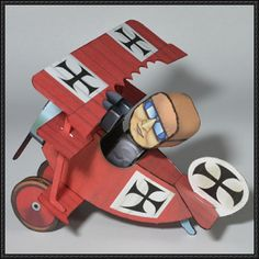 WWI Chibi Red Baron Triplane Free Aircraft Paper Model Download - http://www.papercraftsquare.com/wwi-chibi-red-baron-triplane-free-aircraft-paper-model-download.html