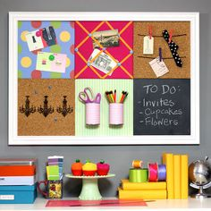 diy pottery barn teen inspired bulletin board system, chalkboard paint, cleaning tips, crafts, home decor, This modular bulletin board has traditional cork boards magnetic boards a French bulletin board chalkboard and even canisters for storage