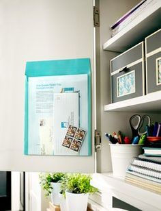 Post It Pockets folder! Awesome idea for getting clutter off counters